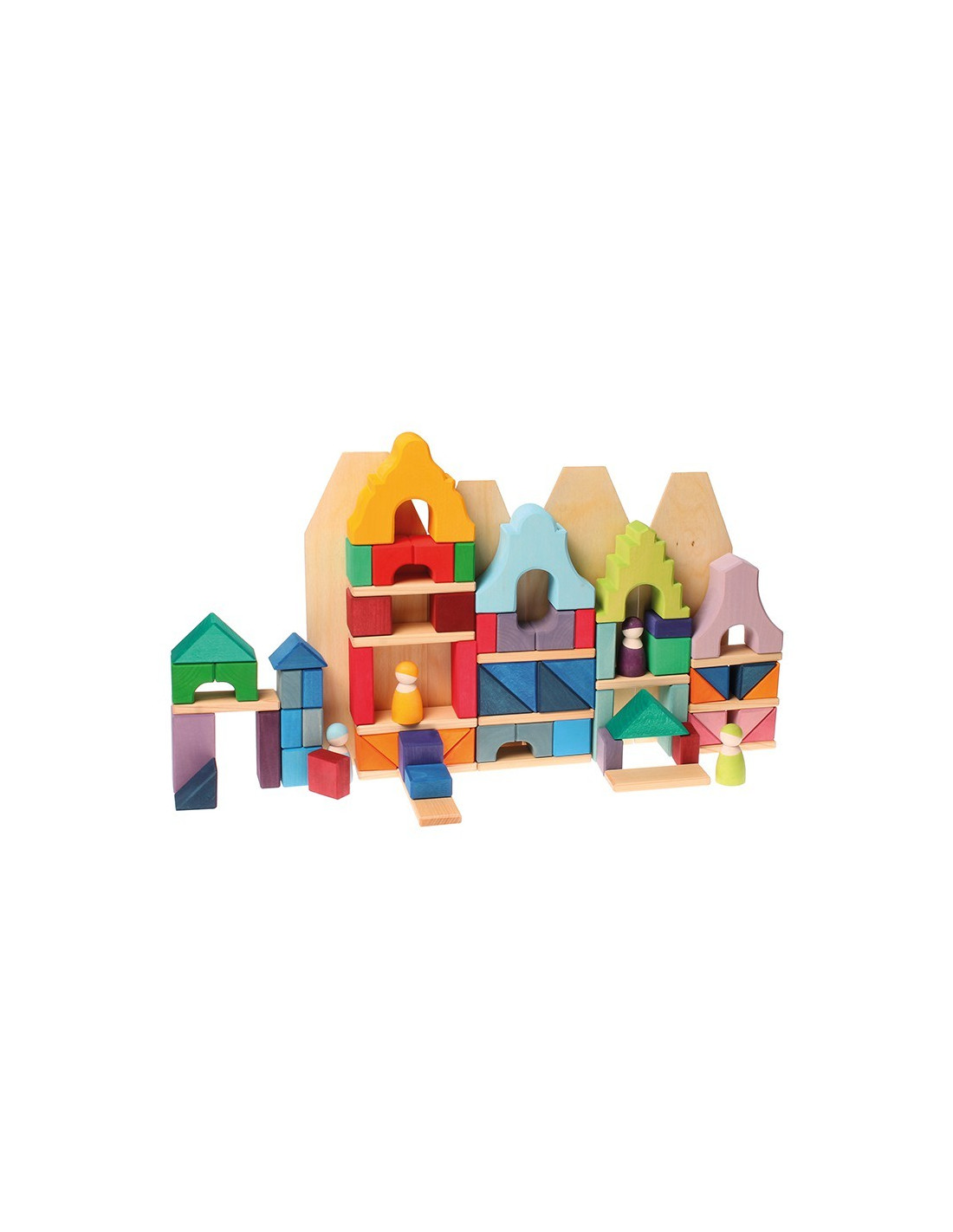 Grachtenpand blokkenset paars houtspel duurzaam houten for Jeux de construction de maison en 3d