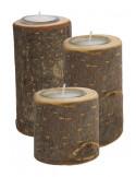Waxinelichtje houder boomstam