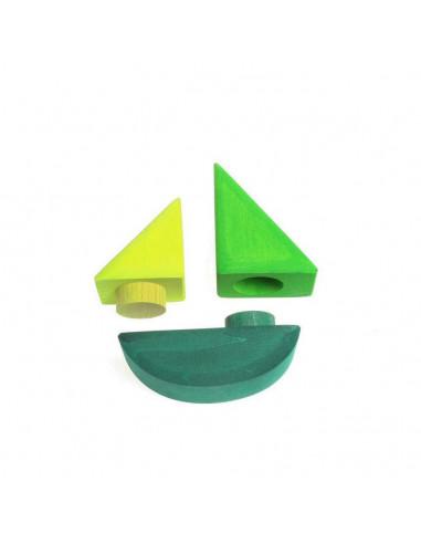 Stapelbaar zeilbootje groen