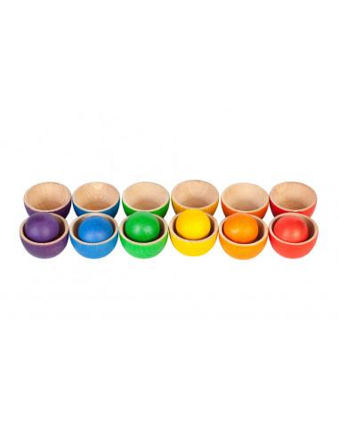 Regenboog bakjes met ballen set