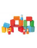 Houten blokken gekleurd