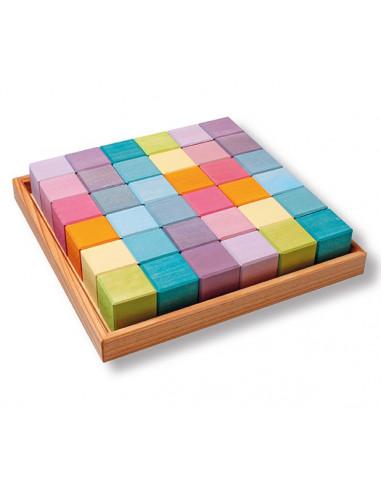 Bouwblokken groot vierkant pastel