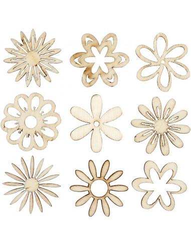 Houten mini figuurtjes bloemen