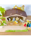 Houten speel kerststal met onderplaat