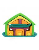 Mini poppenhuis groen-oranje