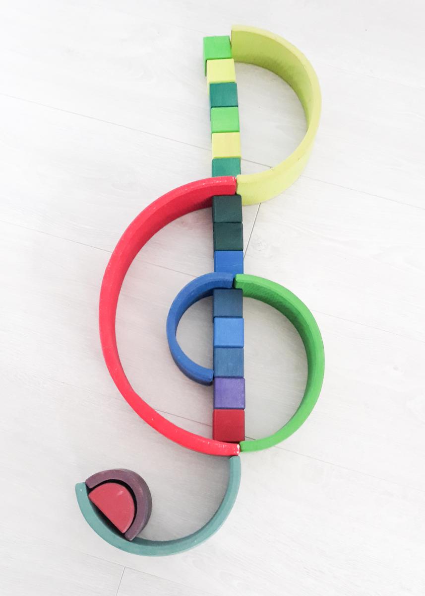 Houten regenboog voorbeeld viool sleutel