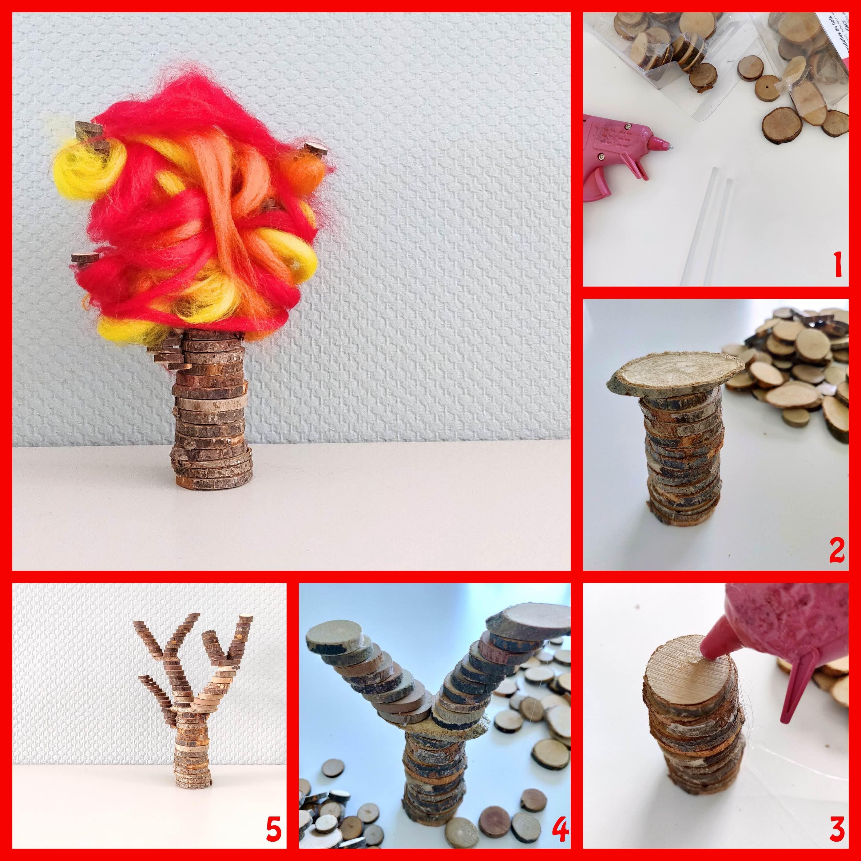 herfstboom knutselen van houtplakjes en vilt