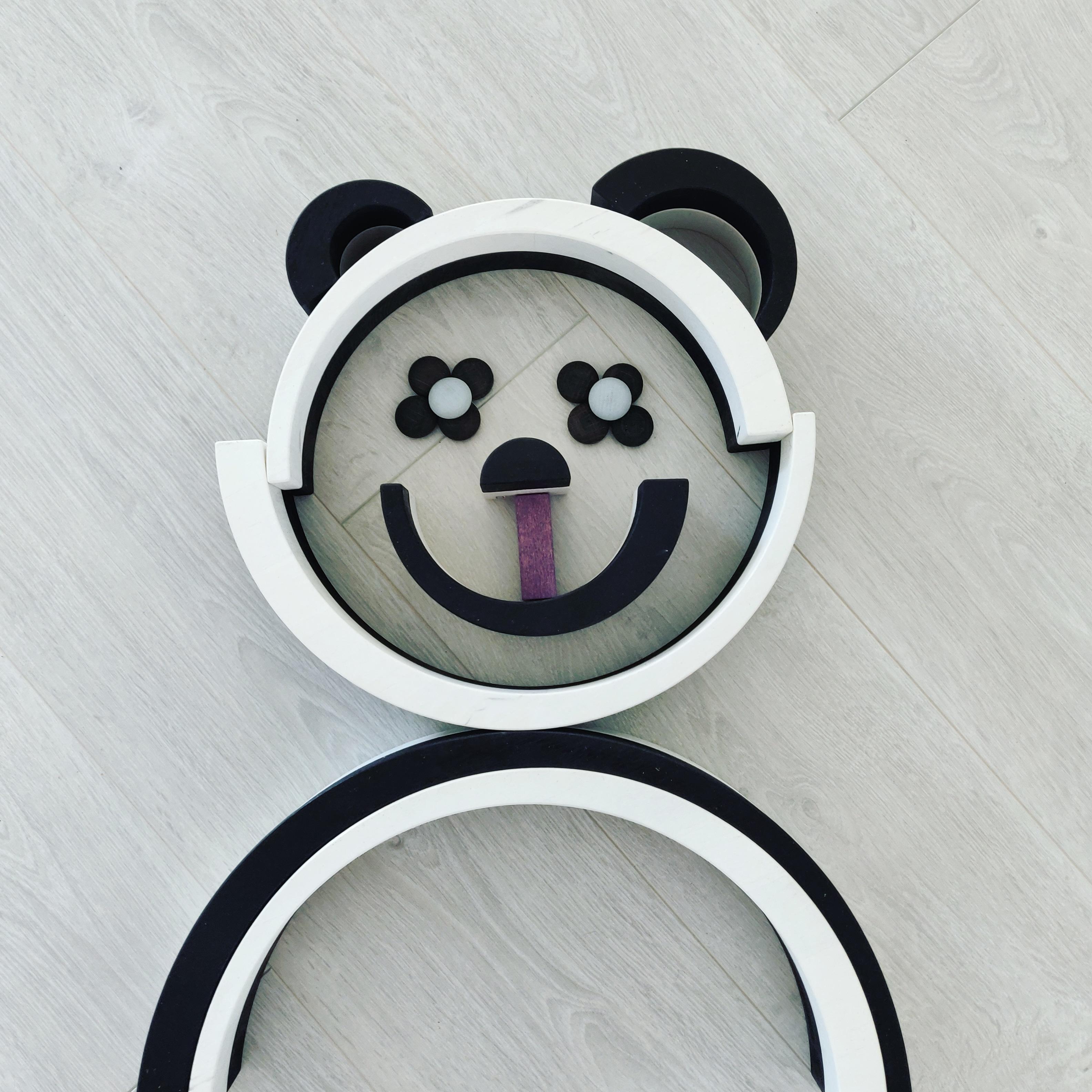 Panda beer van zwart/wit regenboog