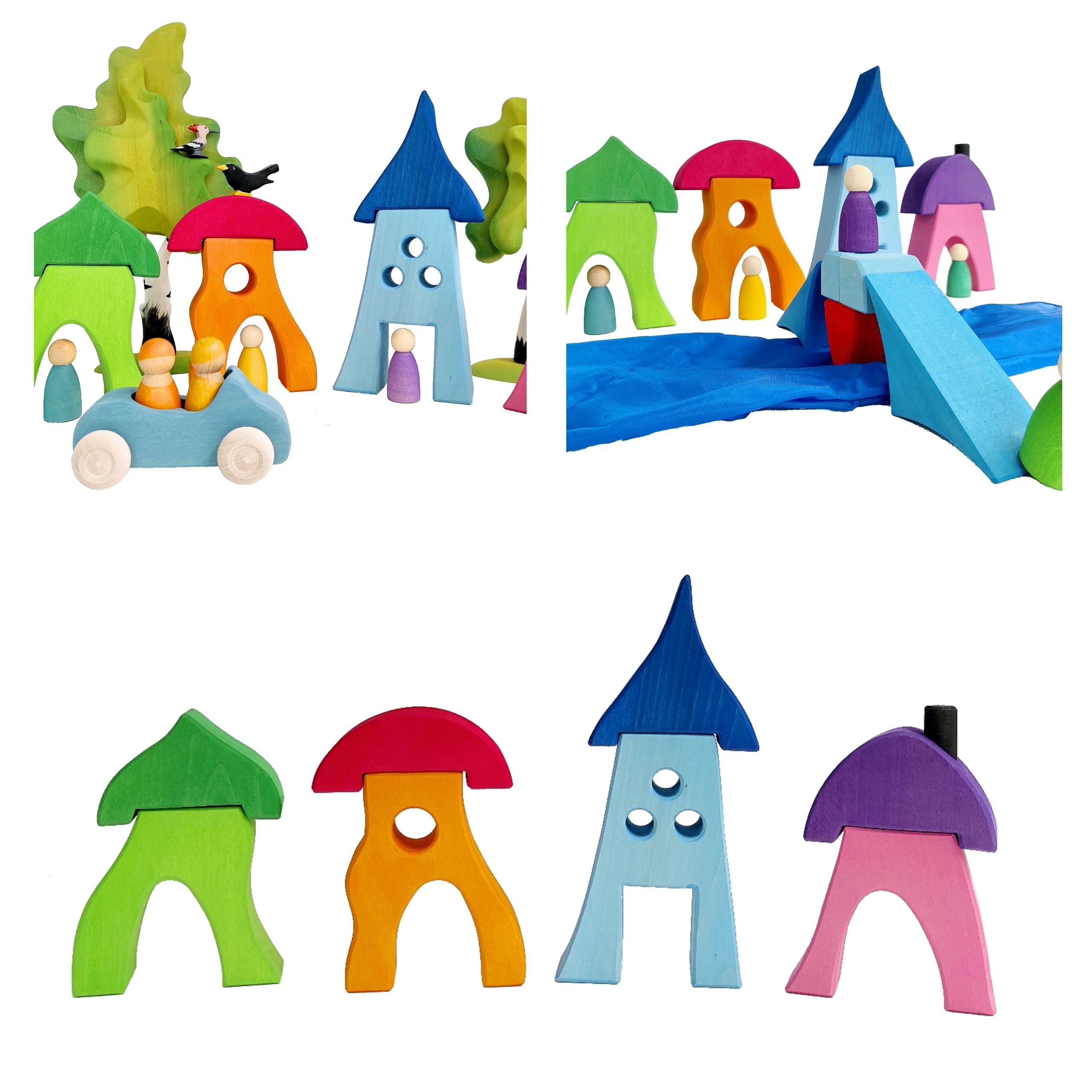 kleurige huizen bauspiel