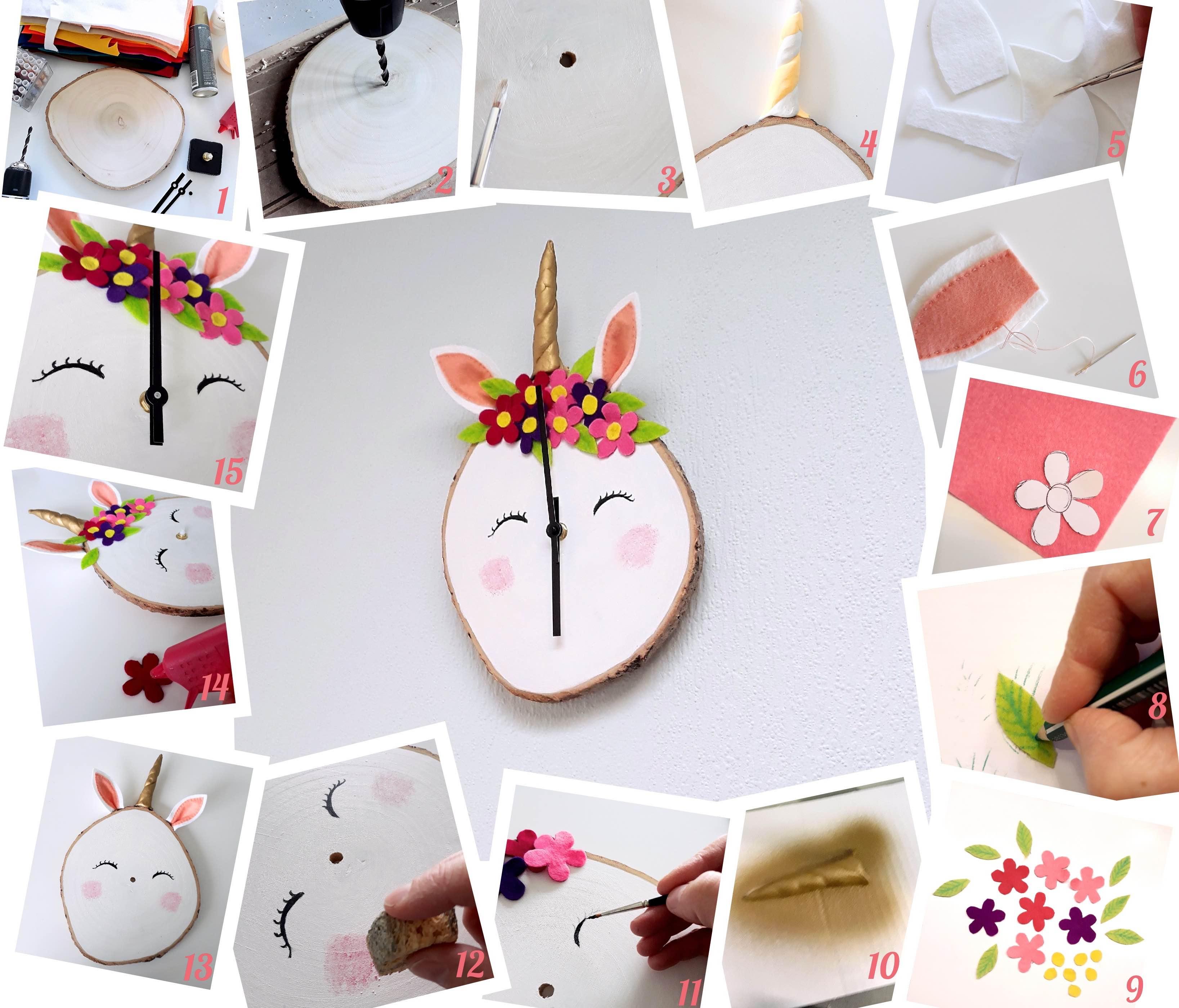 knutsel een eenhoorn klok/ DIY unicorn clock