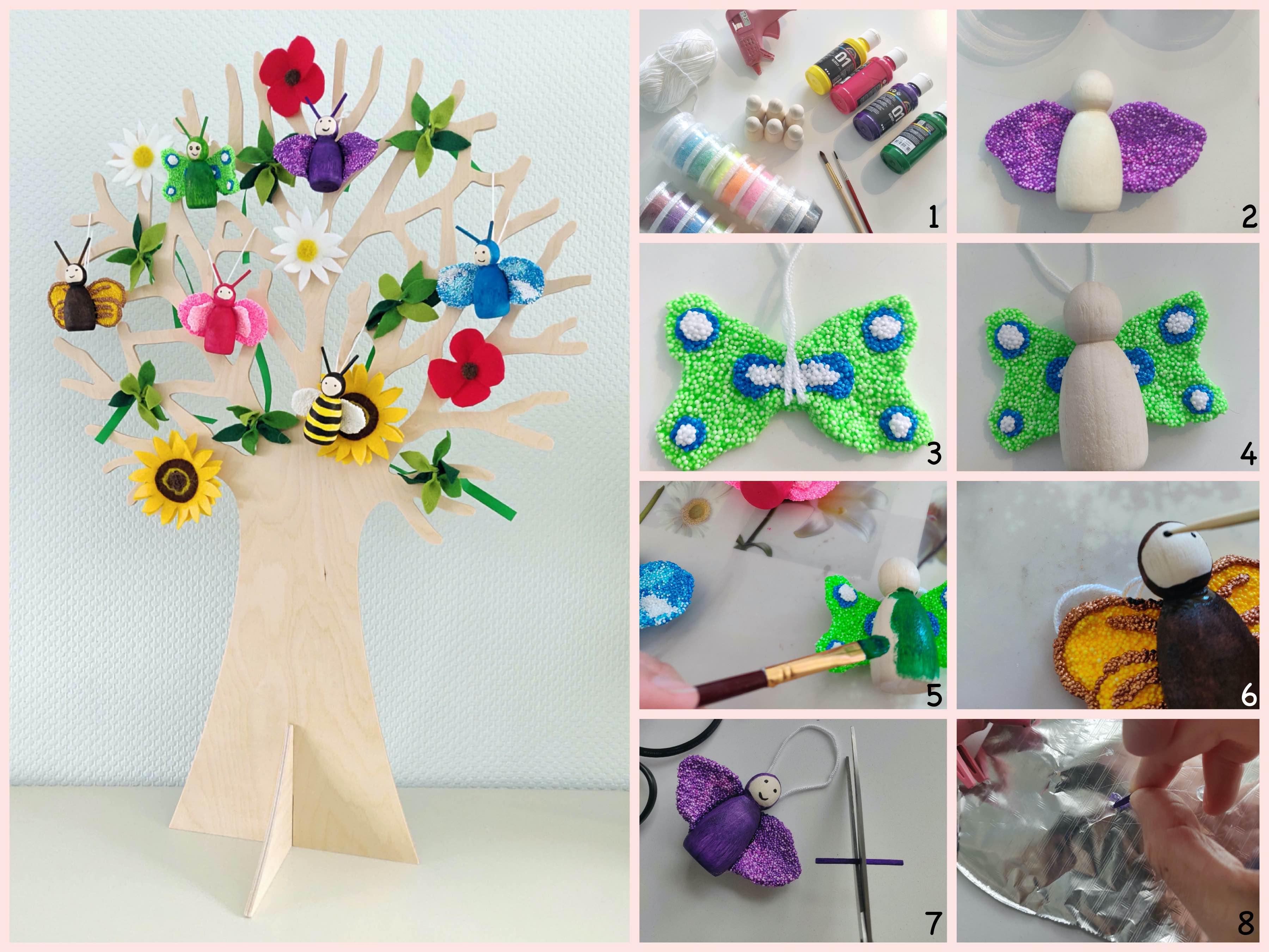 zomerse seizoensboom met peg doll beestjes