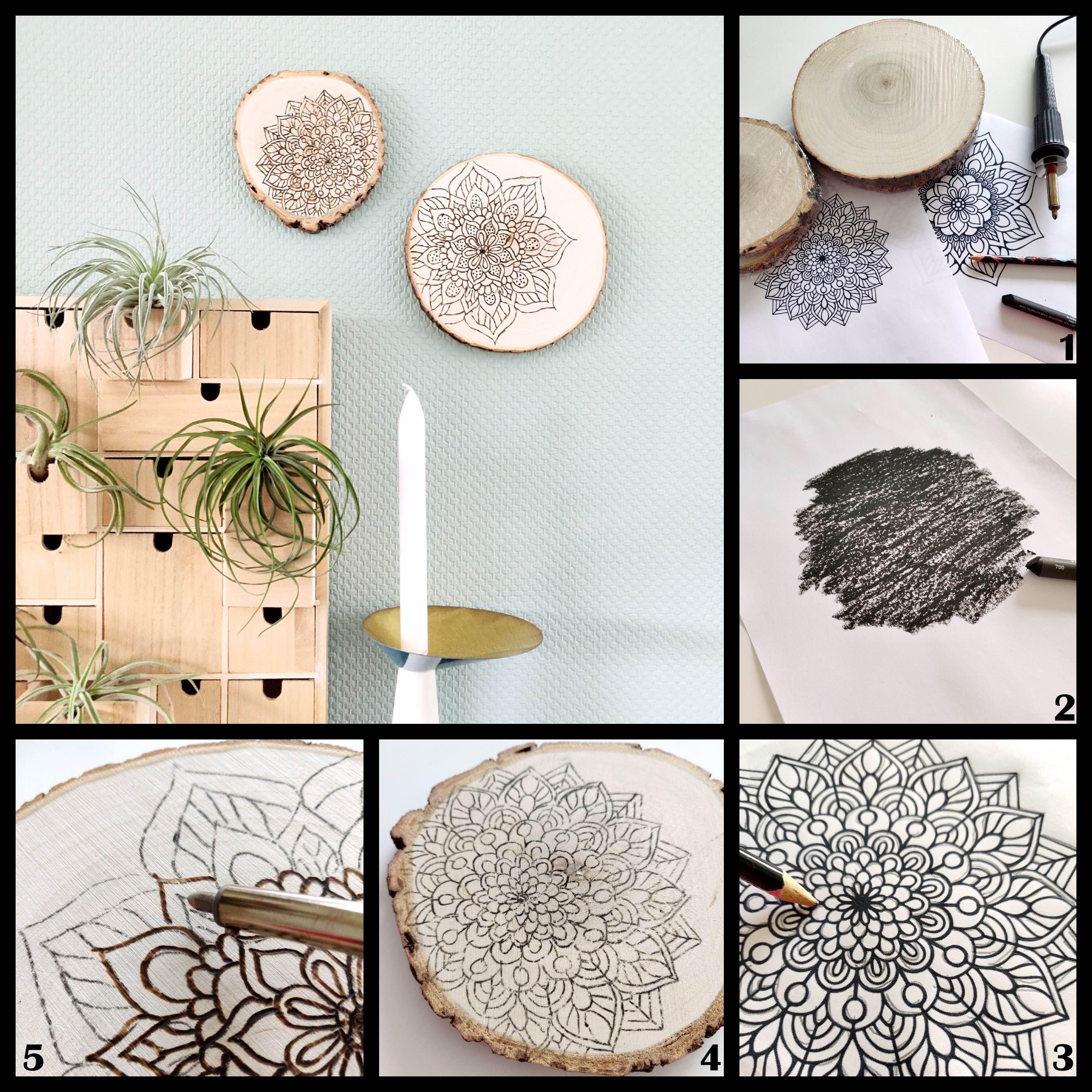 DIY mandala decoratie op hout