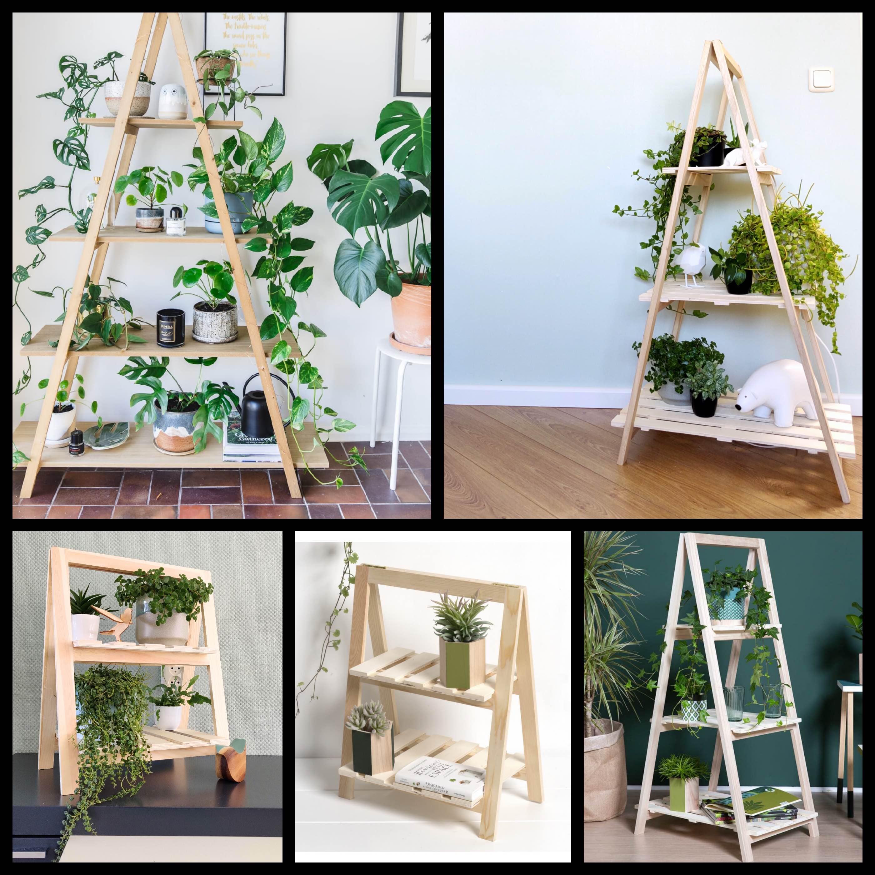 houten plantenrekken
