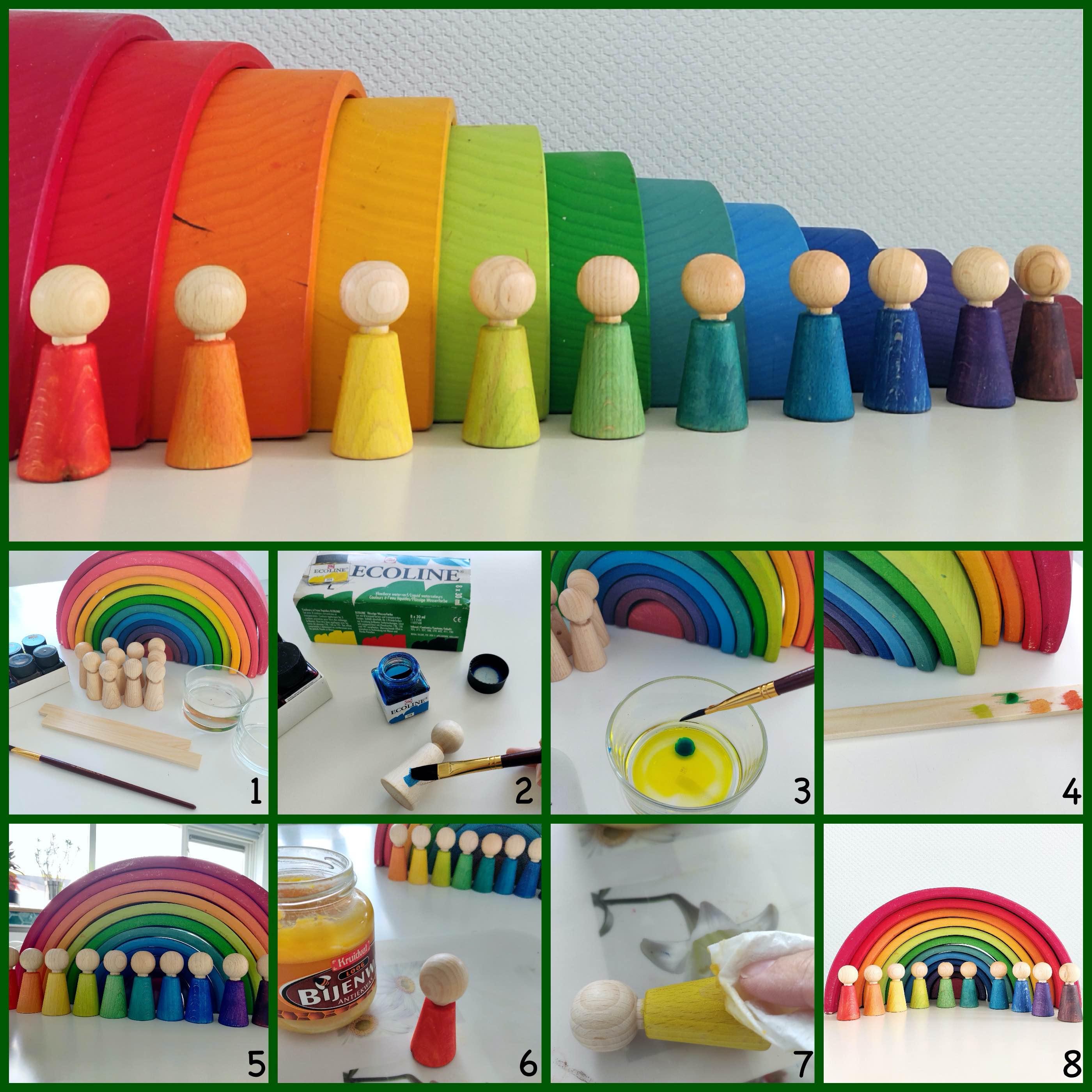 Maak zelf de mooiste regenboog peg dolls