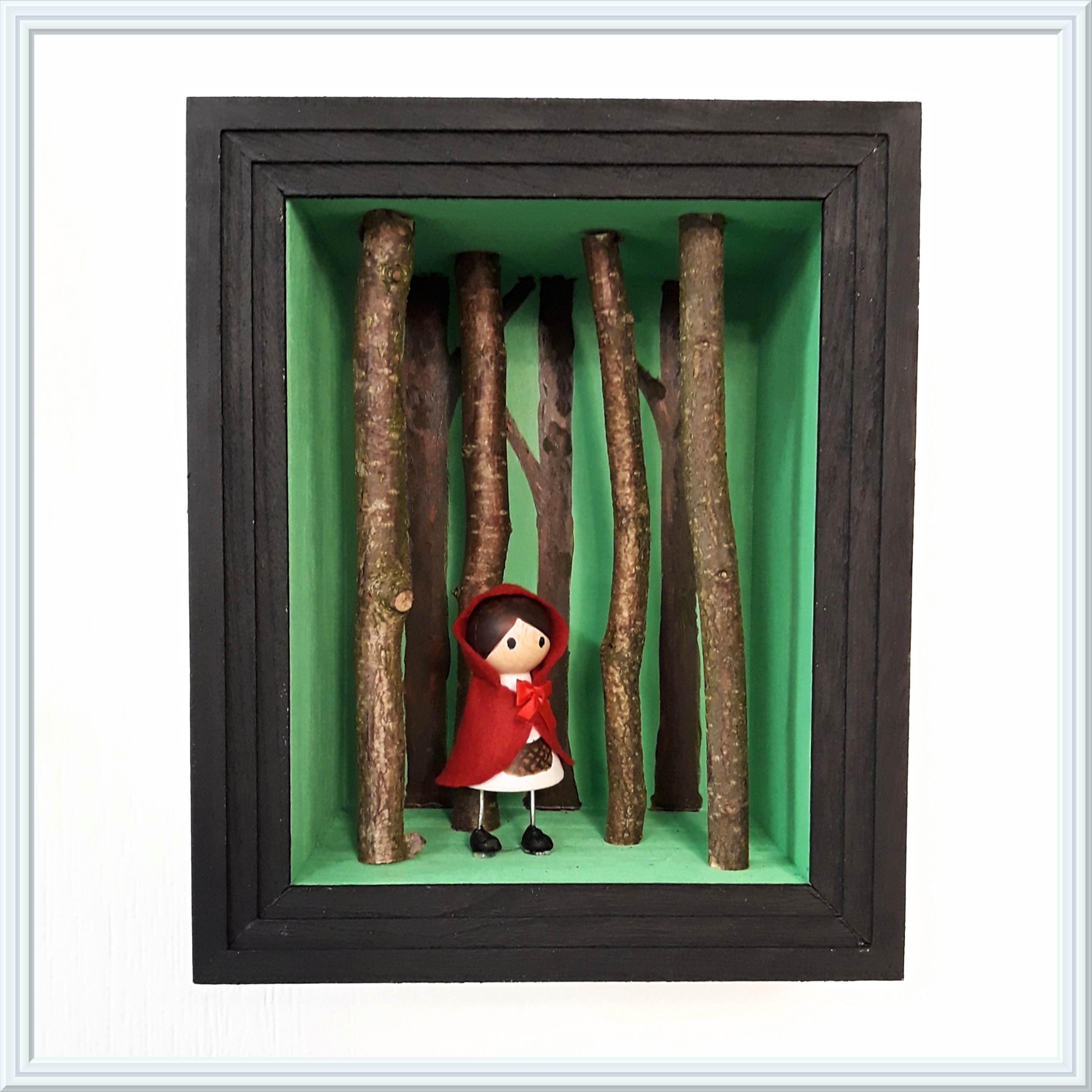 roodkapje kijkkastje, little red riding shadow box